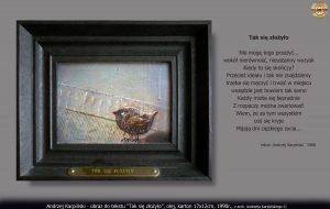 """Andrzej Karpiński """"Tak się złożyło"""", olej, karton 17x12cm, 1990"""