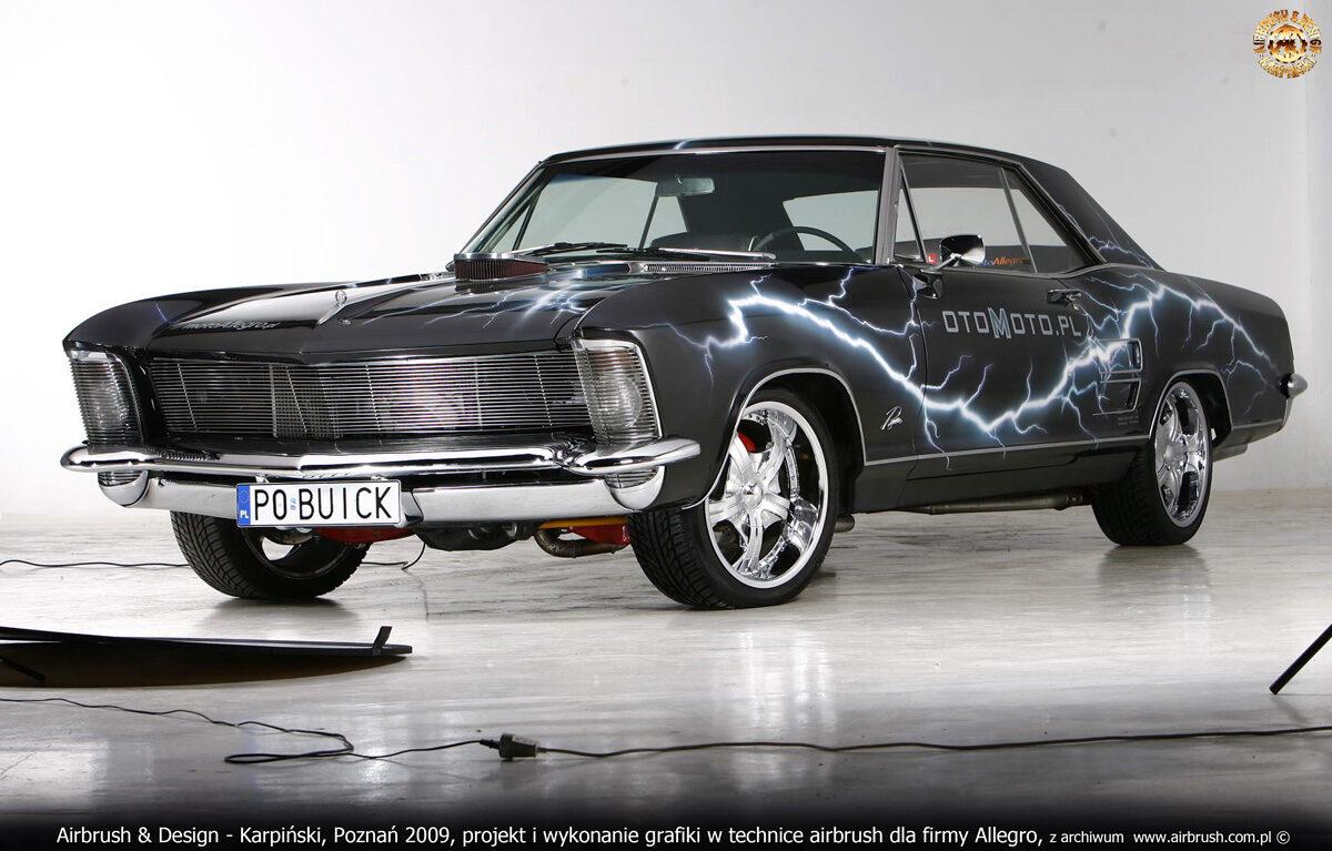 Projekt i wykonanie grafiki w technice airbrush na samochodzie Buick Riviera dla firmy ALLEGRO.