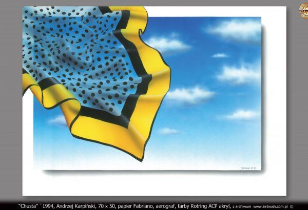 """Chusta"" `1994, Andrzej Karpiński, format 70x50, papier Fabriano, aerograf, farby Rotring ACP akryl"