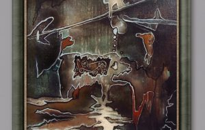 """Andrzej Karpiński, """"Dziś mam wszystkiego dość"""" 32x45cm, olej, płótno, 1990r., z arch. Andrzeja Karpińskiego © www.airbrush.com.pl"""