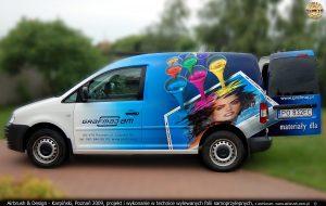 reklama na samochodach firmy Grafmaj