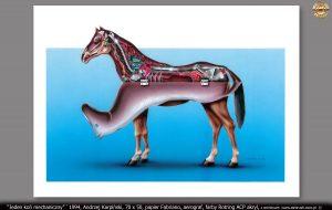 """""""Jeden koń mechaniczny"""" `1994, Andrzej Karpiński, format 70x50, papier Fabriano, aerograf, farby Rotring ACP akryl"""