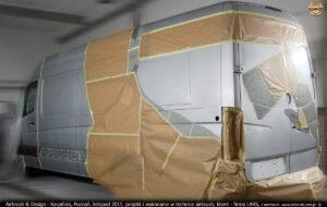 Proces malowania reklamy w technice airbrush IronMan na samochodzie firmy Lars 2011 r.