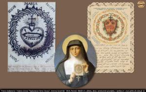 """W jednym z objawień Jezus pokazał jej swoje Najświętsze Serce w otwartej klatce piersiowej mówiąc: """"Oto Serce, które tak bardzo kocha ludzi lecz tak mało jest przez nich kochane! """"."""