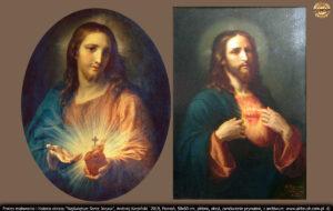 Wzór pierwszy: obraz olejny na blasze miedzianej Najświętsze Serce Jezusa włoskiego malarza Pompeo Batoniego z 1760. Wzór drugi: José María Ibarrarán y Ponce (wym: Hose Marija Iwarrarani Ponfe) z 1896r.