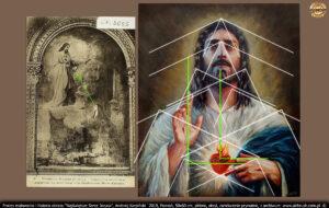 Obejrzałem obraz ołtarza głównego w Paray-le-Monial (wym: Parelemonial). Jest tam scena objawienia, gdzie wyraźnie widać z jakiej perspektywy św. Małgorzata patrzy na Jezusa.