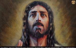 Moim zamierzeniem było odwrócenie uwagi od twarzy Jezusa, a skupienie się na rozgrzanym sercu. Jednak portret musiał być wykonany poprawnie. Zależało mi, aby utrzymać twarz w lekkim cieniu, aby uwagę skierować na serce.
