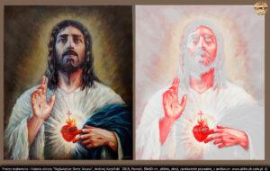 Rozkład czerwieni dotyczy wyłącznie ciała Jezusa, a dokładnie Jego Krwi, z minimalnym zabarwieniem otoczenia.