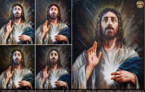 Gdy wyraz twarzy i wzrok zostały odnalezione, obraz ulegał przebudowie. Zaznaczenie światła w miejscu serca wyznaczyło zmiany w tle i na całym obrazie.