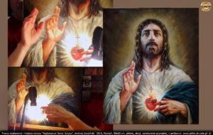 Wszystkie elementy obrazu były gotowe, postanowiłem podświetlić własne dłonie żarówką ustawioną w okolicach serca. Obraz był zaprojektowany w skali 1:1. więc widziałem jak działa światło w rzeczywistości.