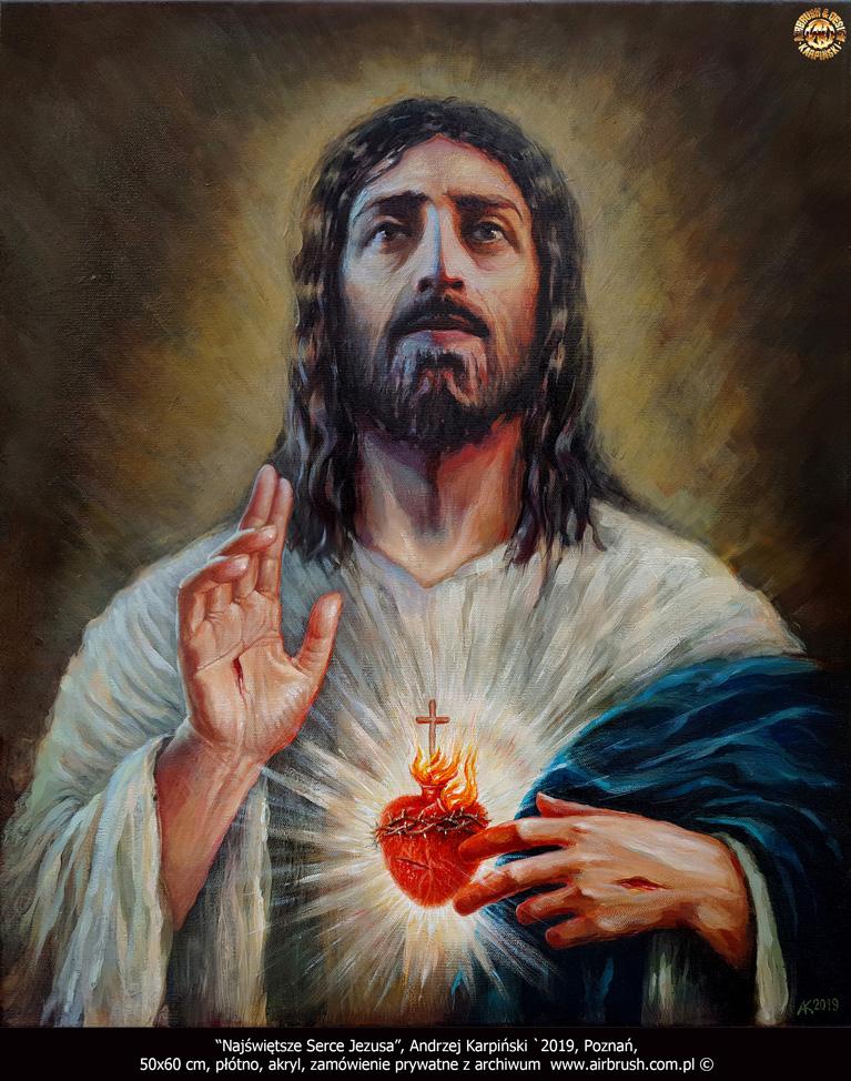 Najświętsze Serce Jezusa, Andrzej Karpiński `2019, Poznań, 50x60 cm, płótno, akryl, zamówienie prywatne.