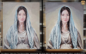 Proces malowania obrazu Oto ja Służebnica Pańska, Andrzej Karpiński `2020, 50x60 cm, płótno, akryl.
