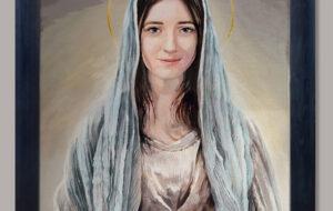 """Obraz Matki Bożej """"Oto ja Służebnica Pańska"""", Andrzej Karpiński `2020, 50x60 cm, płótno, akryl."""