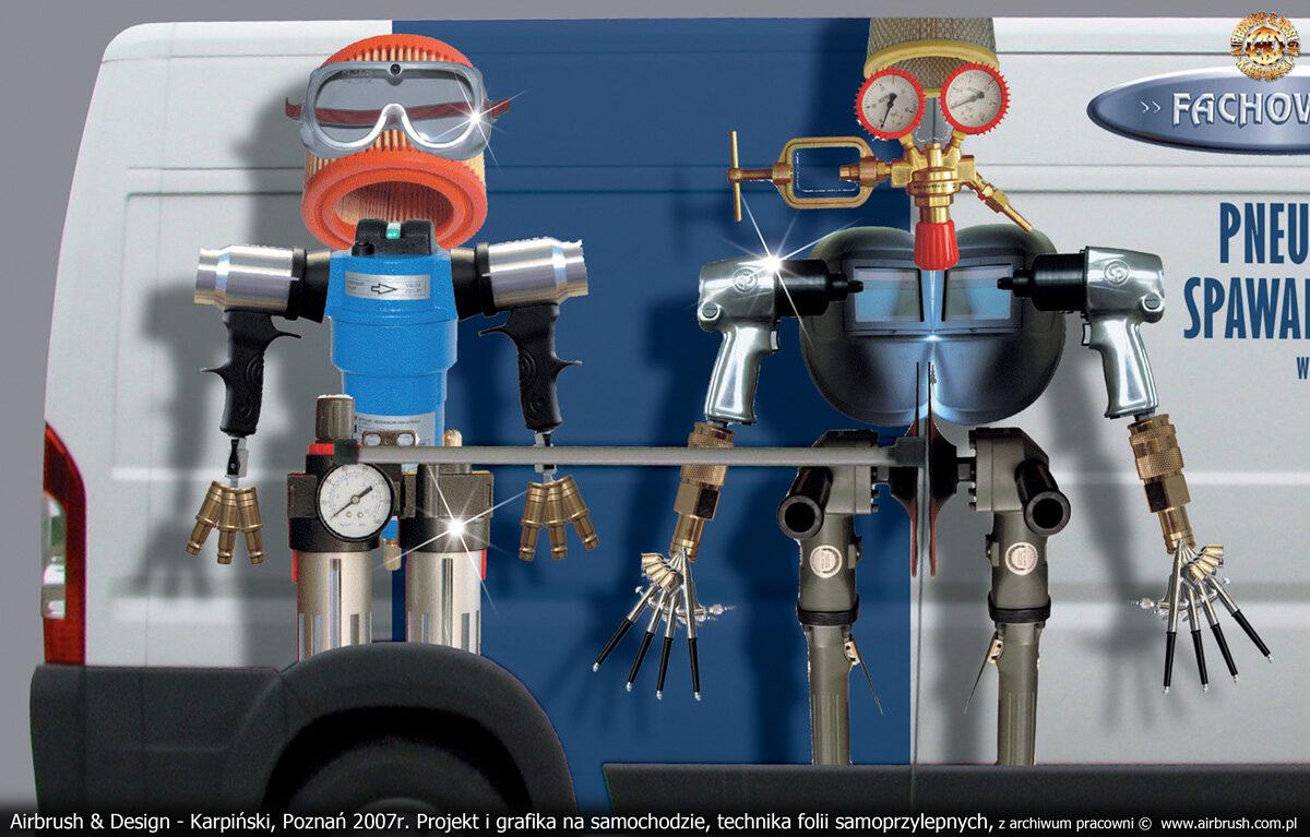 Projekt i reklama w tehcnice zadrukowanych folii samoprzylepnych na samochodzie Fiat Ducato dla firmy Fachowiec.