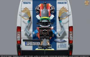 Projekt reklamy na samochodzie firmy Fachowiec.