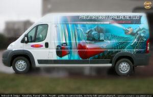 Projekt i grafika reklamowa na samochodzie firmy Fachowiec.