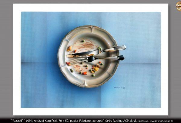 """""""Resztki"""" `1994, Andrzej Karpiński, format 70x50, papier Fabriano, aerograf, farby Rotring ACP akryl"""