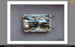 """Tanie danie"" `1993, Andrzej Karpiński, format 70x62, aluminium, aerograf, farby Rotring ACP akryl, reprint papier Fabriano 70x50"