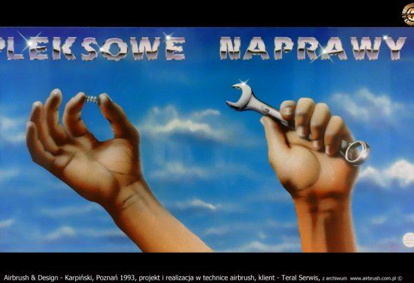 Airbrush & Design - Karpiński, Poznań 1993, projekt i realizacja w technice airbrush, klient - Teral Serwis, z archiwum  www.airbrush.com.pl ©