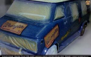 Proces malowania reklamy Wrangler w technice airbrush.