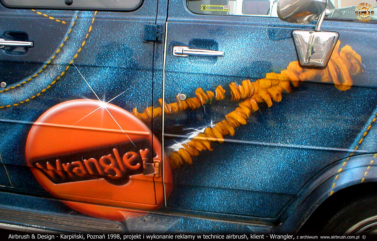 Projekt i reklama Wrangler w technice airbrush na samochodzie Chevrolet Chevy van 20 SL Series.