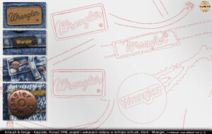 Elementy wektorowe przygotowane do malowania logo Wrangler oraz szwów, guzików i nitów.