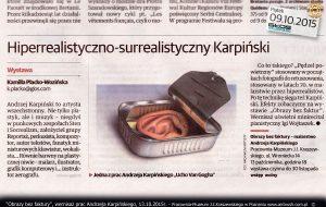 Obrazy bez faktury, wernisaż, Głos Wielkopolski 2015