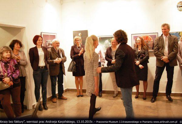 Obrazy bez faktury, wernisaż, 13.10.2015r. Pracownia-Muzeum J.I.Kraszewskiego w Poznaniu.