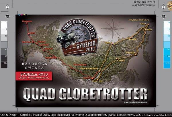 Logo i materiały reklamowe ekspedycji Quadglobetrotter.